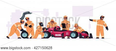Racing Crew. Cartoon Pit Stop Team In Uniform Working On Race Car. Mechanic Workers Changing Wheels