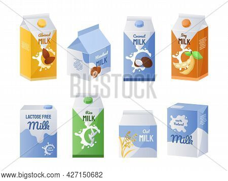 Organic Milk. Vegetarian Drinks Collection For Coffee And Tea. Vegan Milky Replacement. Isolated Car
