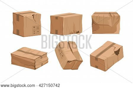 Damaged Box. Cartoon Broken Package. Ripped And Wet Shipping Cardboard Packaging. Cargo And Mail Par