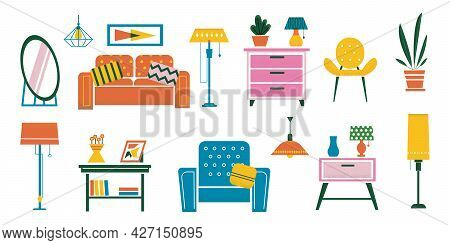Cartoon Interior Furniture. Doodle Plants And Desks. Chairs Or Soft Sofa. Floor And Table Lamps, Cha