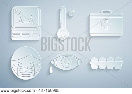 Set Reddish Eye Allergic Conjunctivitis, First Aid Kit, Face In Protective Mask, Chicken Egg Box, Me