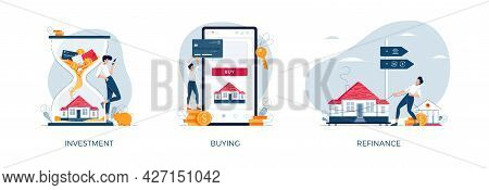 Property Banners Set. House-buying, Mortgage Refinancing, Real Estate Investment. Invest In House, P