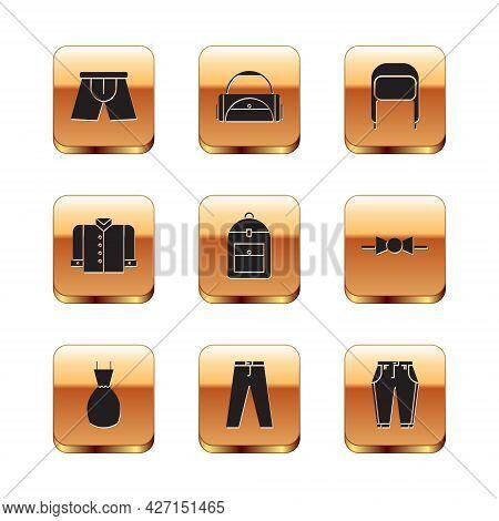Set Men Underpants, Woman Dress, Pants, Backpack, T-shirt, Winter Hat With Ear Flaps, And Sport Bag