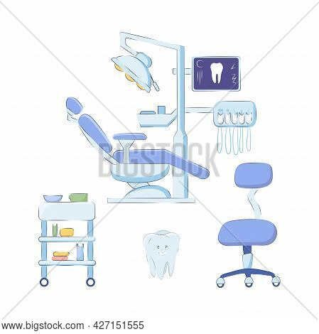 Dental Office Equipment Set And Furniture Isolated On White Background. Vector Illustration Of A Pat