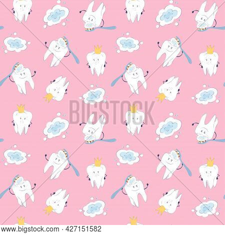 Seamless Pattern With Cute Characters Teeth On A Pink Background. Vector Endless Texture With Teeth