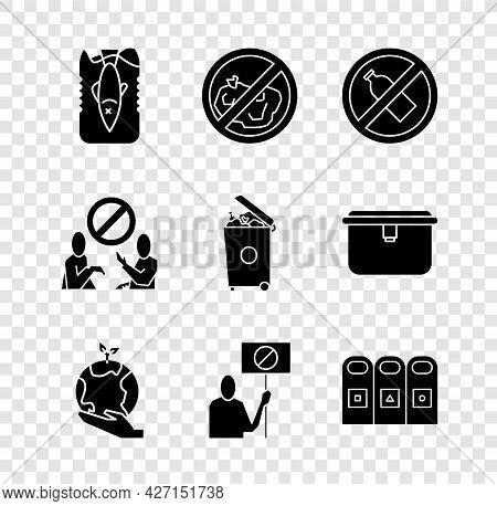 Set Stop Ocean Plastic Pollution, No Trash, Bottle, Hand Holding Earth Globe, Nature Saving Protest,