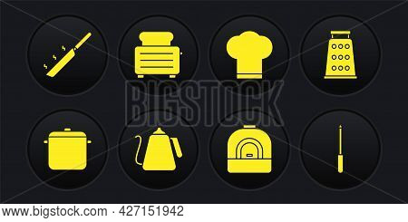 Set Cooking Pot, Grater, Kettle With Handle, Oven, Chef Hat, Toaster Toasts, Knife Sharpener And Fry