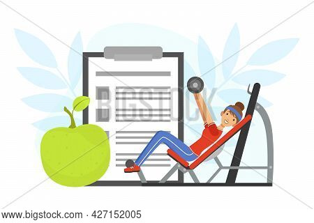 Young Woman Character With Headband And Sportswear On Gym Machine Lifting Dumbbell Vector Illustrati