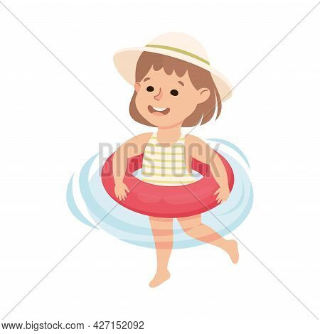 Little Girl In Swimsuit Swimming With Inflatable Rubber Ring Vector Illustration