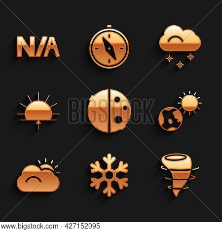 Set Eclipse Of The Sun, Snowflake, Tornado, Earth Globe And, Sun Cloud, Sunrise, Cloud With Snow And