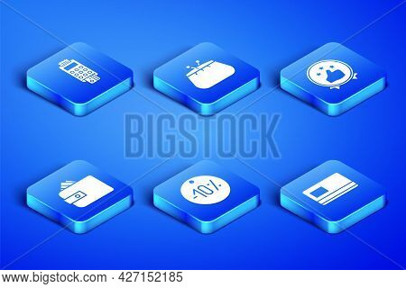 Set Credit Card, Pos Terminal With Credit, Ten Discount Percent Tag, Wallet Paper Money Cash, And Co