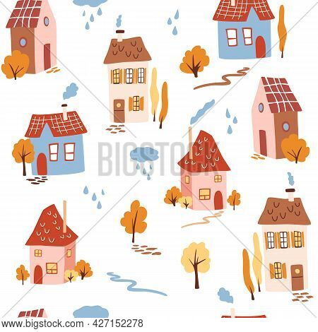 Seamless Pattern With Cute Houses. Autumn Trees, Roads, Houses With Pipes And Rain Clouds. Trendy Mo