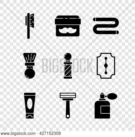 Set Hairbrush, Cream Or Lotion Cosmetic Jar, Towel, Tube, Shaving Razor, Aftershave Bottle With Atom