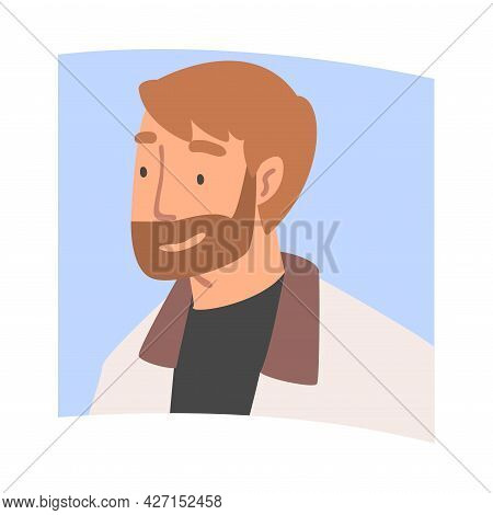 Videoconference And Web Meeting With Bearded Man Character Engaged In Online Communication In Real T