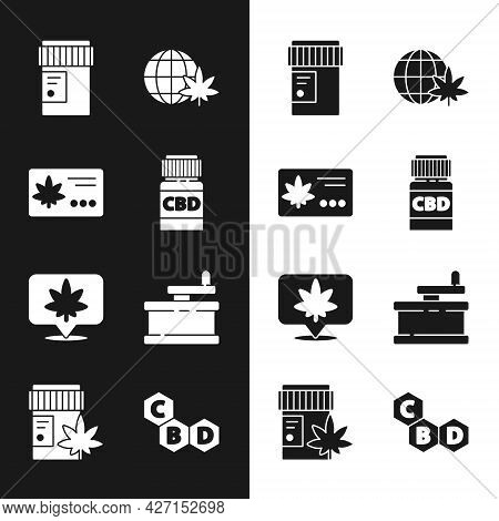 Set Medical Bottle With Cannabis, Calendar And Marijuana Leaf, Legalize Globe, Location, Manual Grin