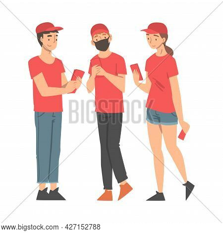 Man And Woman Volunteer In Red Cap Hand Out Leaflet Engaged In Charity Activity Vector Illustration