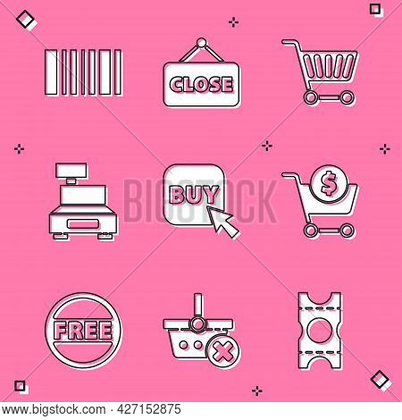 Set Barcode, Hanging Sign With Closed, Shopping Cart, Cash Register Machine, Buy Button, And Dollar,