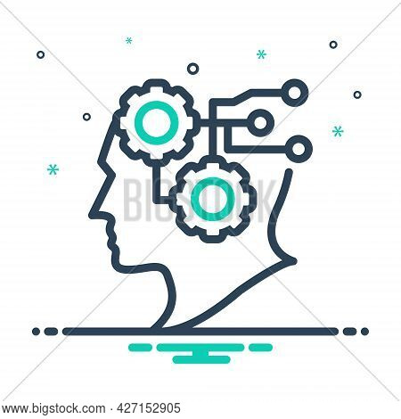 Mix Icon For Intelligence Intellect Sence Mind Headpiece Wisdom Brainpower Circuit Digital