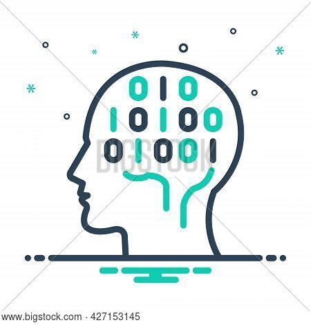 Mix Icon For Binary-mind Hardware Chip Technology Algorithm Human Machine Processor Brain Coding