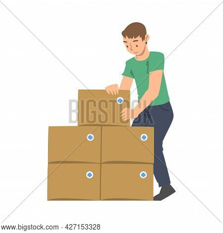 Man Volunteer With Food Box Engaged In Charity Activity Donating It To Needy Vector Illustration
