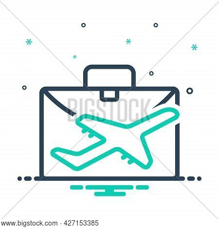 Mix Icon For Business-travel Plane Fly Flight  Transport Vacation Business Travel Ticket Airplane Me