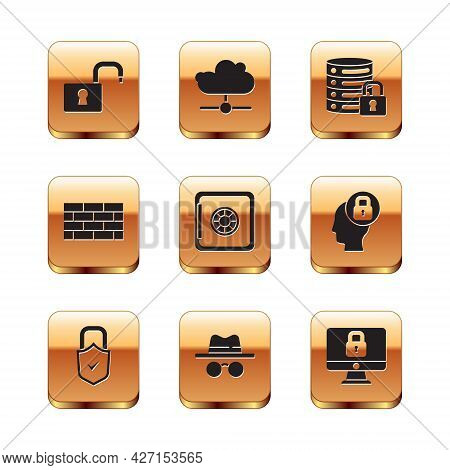 Set Open Padlock, Lock And Check Mark, Incognito Mode, Safe, Firewall, Security Wall, Server With, O