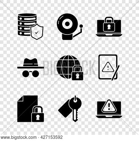Set Server With Shield, Ringing Alarm Bell, Laptop And Lock, Document, Marked Key, Exclamation Mark,