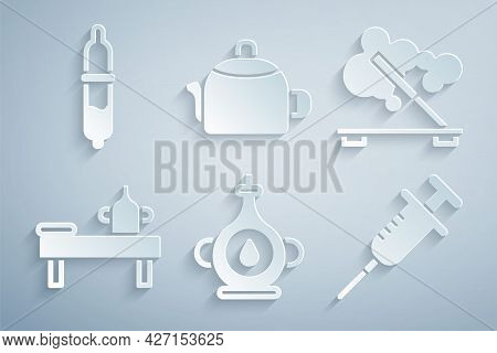 Set Oil Bottle, Scented Spa Stick, Massage Table With Oil, Syringe, Kettle Handle And Pipette Icon.