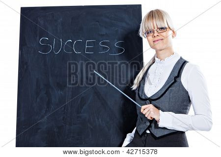 Business woman with chalk board