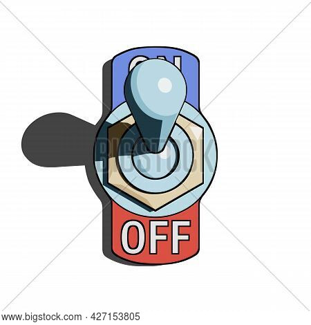 Toggle Switch Turned On With Shadow On White Background. Vector Illustration With Stroke