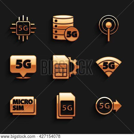 Set Sim Card Setting, 5g Card, Network, Micro, Location, Antenna And Processor Icon. Vector