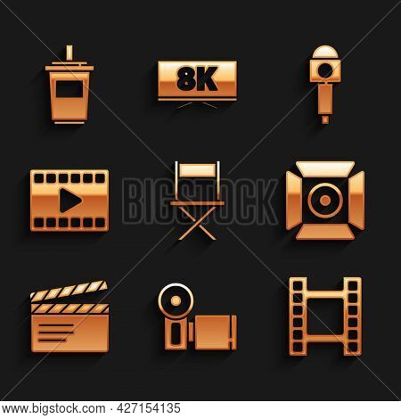 Set Director Movie Chair, Cinema Camera, Play Video, Movie Spotlight, Clapper, Microphone And Paper