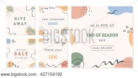 Trendy Abstract Post Templates For Social Media. Modern Square Banners With Copy Space For Text. Set