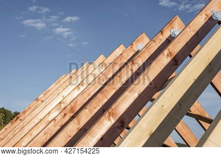Front View Construction Roof Daylight. High Quality Beautiful Photo Concept