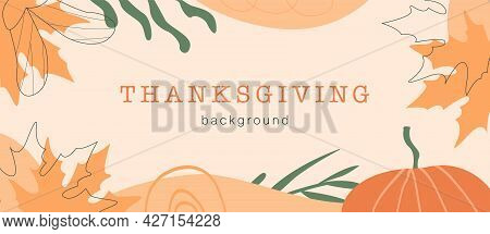 Abstract Horizontal Thanksgiving Banner Template. Trendy Minimal Background With Autumnal Leaves, Pu