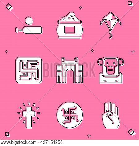 Set Wood Cricket Bat And Ball, Indian , Kite, Hindu Swastika, Gate Delhi, Monkey, Christian Cross An