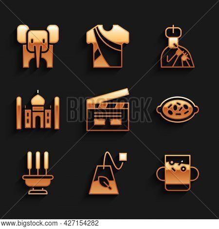 Set Bollywood Indian Cinema, Tea Bag, Cup Of Tea And Leaf, Kheer Bowl, Incense Sticks, Taj Mahal, In