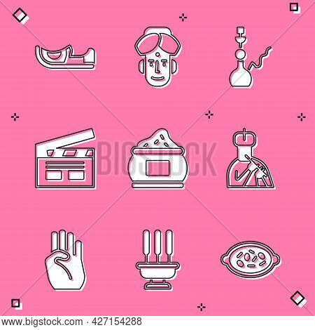Set Indian Shoes, Man, Hookah, Bollywood Indian Cinema, Plays Flute, Symbol Hand And Incense Sticks