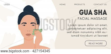 Web Banner Template For Gua Sha Facial Massage. Woman Massaging And Scraping Her Skin. Natural Green