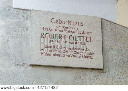 Gorlitz, Germany - June 2, 2021: Memorial Plaque To Robert Oettel.