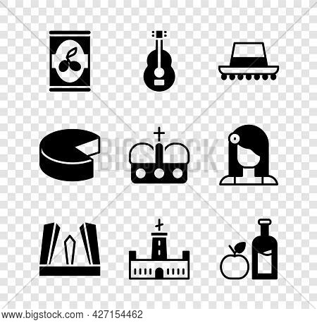 Set Olives In Can, Spanish Guitar, Hat, Gate Of Europe, Montjuic Castle, Apple Cider Bottle, Cheese