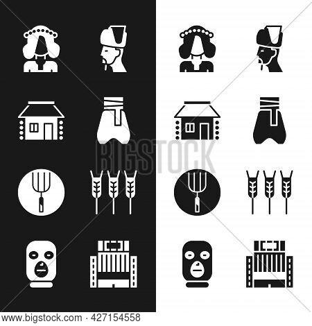 Set Cossack Pants, Ukrainian House, Woman, Cossack, Garden Pitchfork, Wheat, Hotel Ukraina Building