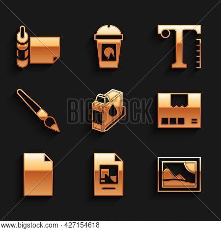 Set Printer Ink Cartridge, File Document, Picture Landscape, Carton Cardboard Box, Empty, Paint Brus