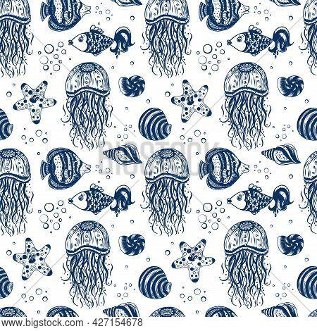 Seamless Marine Pattern With Jellyfish, Shells, Starfish And Fish. Children's Cute Background. Carto