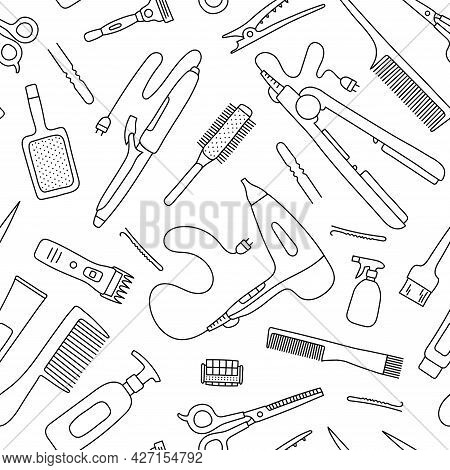 Hairdressing Tools Seamless Pattern. Line Sketch. Hand Drawn Doodle Vector Illustration