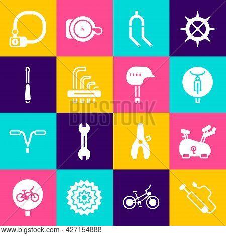 Set Bicycle Air Pump, Stationary Bicycle, Fork, Tool Allen Keys, Screwdriver, Lock And Helmet Icon.