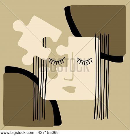 Woman Head Made From Puzzle Pieces - Anxiety, Psychology, Overwork. Vector Illustration