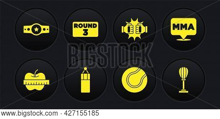 Set Apple And Measuring Tape, Fight Club Mma, Punching Bag, Tennis Ball, Boxing Gloves, Boxing Board