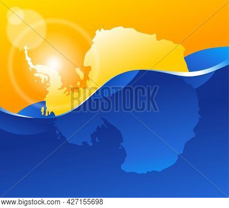 Melting And Drowning Antarctic - Global Warming And Climate Change Concept. Vector Illustration