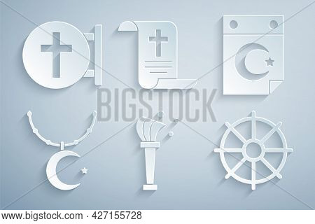 Set Aspergillum, Star And Crescent, On Chain, Dharma Wheel, Decree, Paper, Parchment, Scroll And Chr